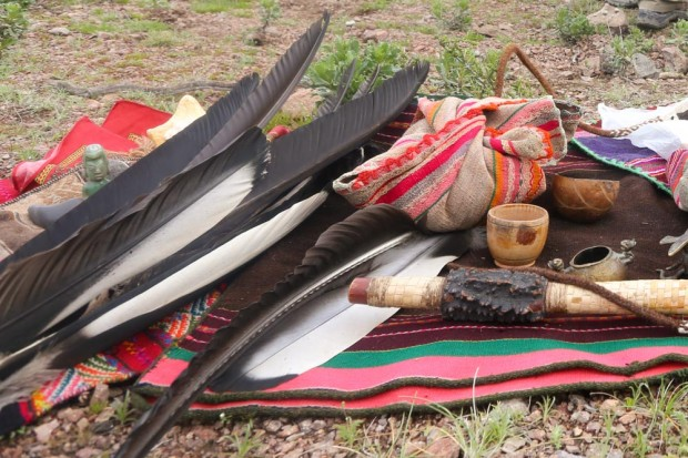 Sacred Condor feathers together with cultural artifacts.