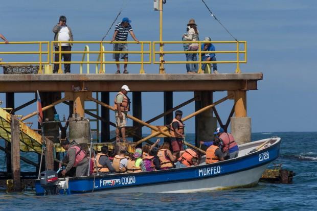 Un barco sale del muelle en Punta Choros