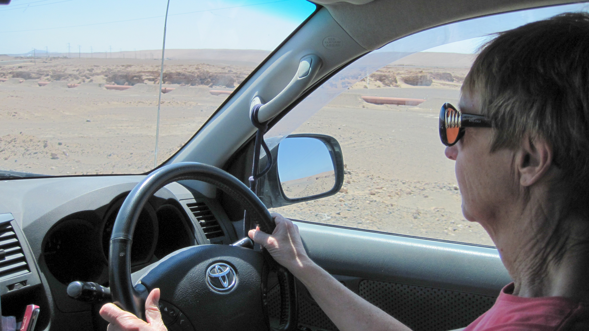 Paula driving the Atacama